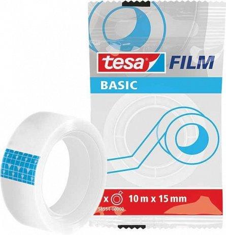 Banda adeziva Tesa, 15 mm x 10 m, Basic, transparent