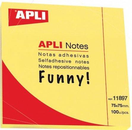 Notite adezive Apli, 75 x 75mm, 100 file, galben,  fileunny