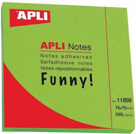 Notite adezive Apli, 75 x 75mm, 100 file, verde,  fileunny