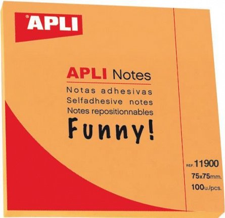 Notite adezive Apli,75x75mm,100f,orange,Funny