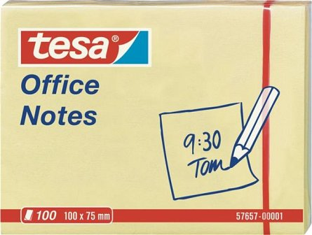 Notite adezive Tesa, 75 x 100 mm, 100 file, galben