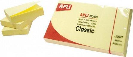 Notite adezive Apli, 75 x 125 mm, 100 file, galben