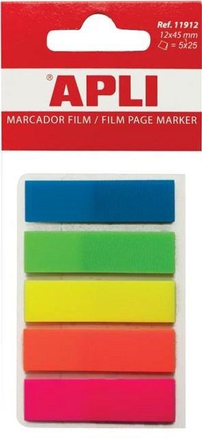 Index adeziv  Apli, 12 x 45 mm, 5 x 25 file, plastic