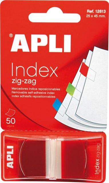 Index adeziv  Apli, 25 x 45 mm, 50 file, rosu