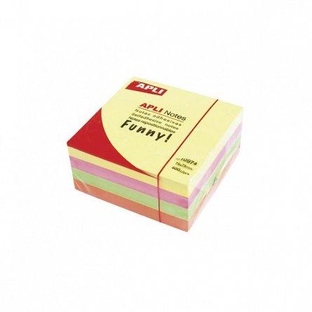 Cub notite adezive Apli, 75 x 75 mm, 400 file, 4 culori neon