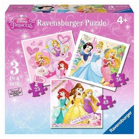 Puzzle Ravensburger - Printesele Disney, 25/36/49 piese