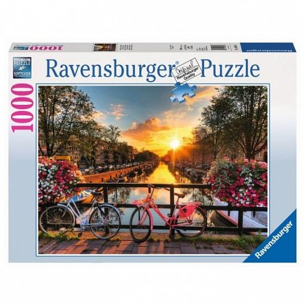 Puzzle Ravensburger - Biciclete in Amsterdam, 1000 piese