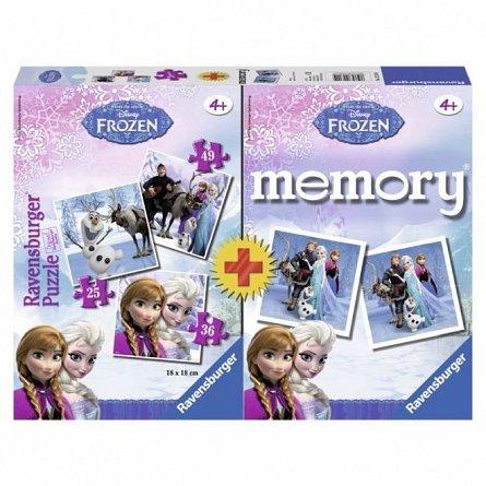 Joc Ravensburger - Joc memory cu puzzle, Frozen, 25/36/49 piese
