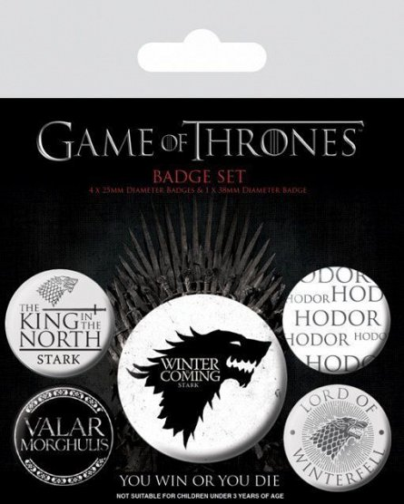 Set 5 insigne Game Of Thrones (Winter Is Coming)