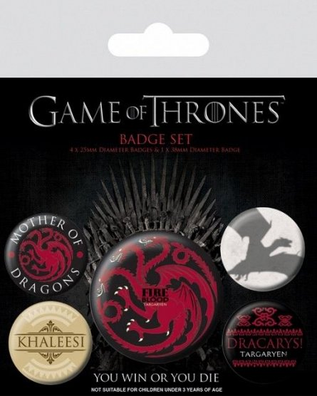 Set 5 insigne Game Of Thrones (Fire And Blood)