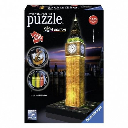 Puzzle 3D Ravensburger - Big Ben, 216 piese, editie luminoasa