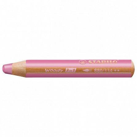 Creion colorat,3in1,Stabilo Woody,roz