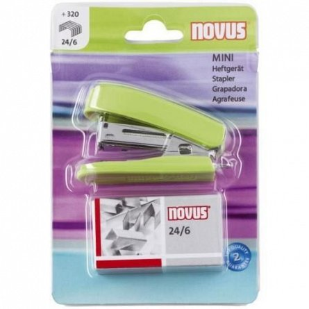 Capsator Novus, capse 24/6, capacitate 12 coli, mini, verde