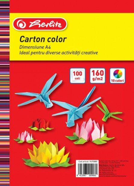 Carton colorat A4,160g,100coli,div.culori