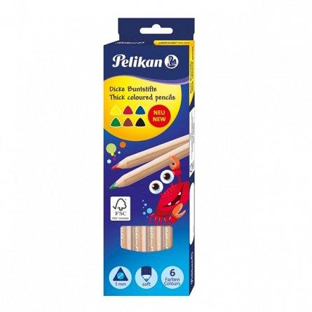 Creioane colorate,6b/set,jumbo,Pelikan