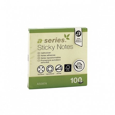 Notite adezive A-Series, 75 x 75 mm, 100 file, galben