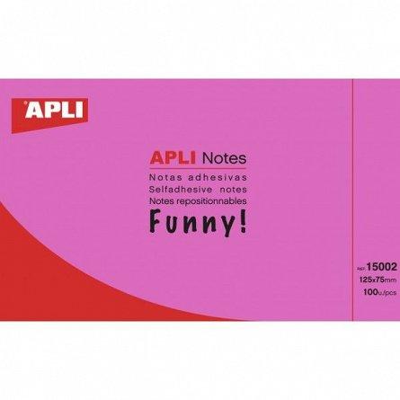 Notite adezive Apli, 125 x 75mm, 100 file, magenta