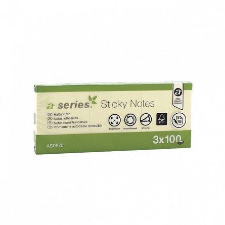 Notite adezive A-Series,50x40mm,100f,galben,3buc/set