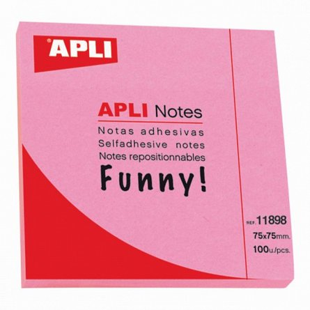 Notite adezive Apli,75x75mm,100f,magenta,Funny