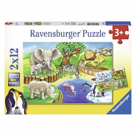 Puzzle Ravensburger - Zoo, 12x2 piese
