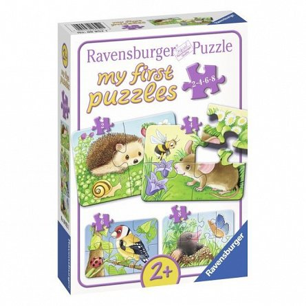 Puzzle Ravensburger - Animale din padure, 2/4/6/8 piese