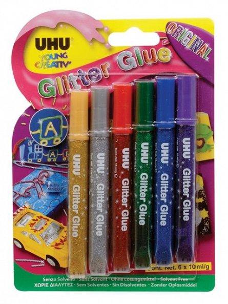 Lipici glitter UHU,10ml,original,6/set