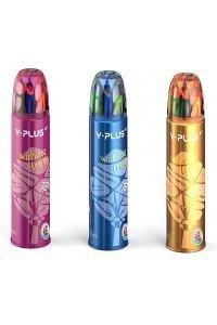 Creioane colorate,12b/set,tub metal,Y-plus