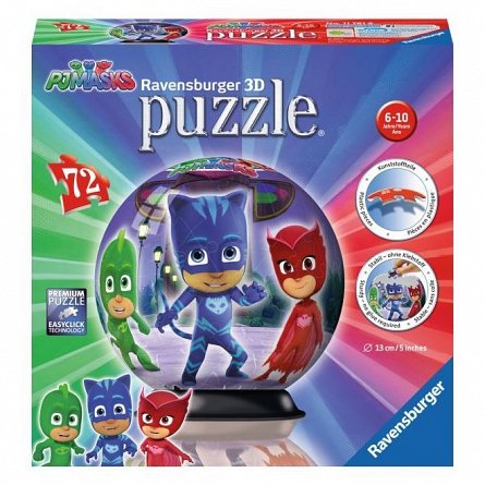 Puzzle 3D Ravensburger - Eroi in pijamale, glob, 72 piese