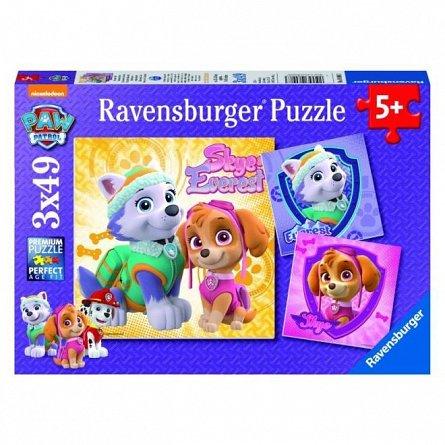 Puzzle Ravensburger - Patrula Catelusilor, Skye si Everest, 3x49 piese