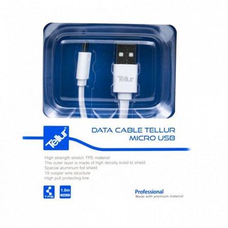 Cablu de date MicroUSB, Tellur, 1M, alb