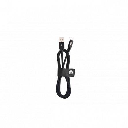 Cablu de date MicroUSB, Tellur Kevlar, 1M, 2.1A, negru