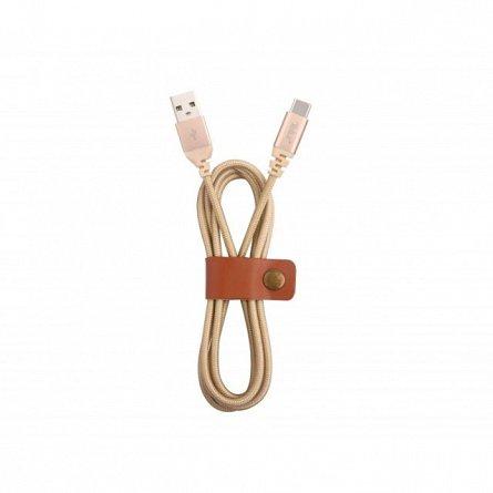 Cablu de date Type C, Tellur Kevlar, 1M, 3A, auriu