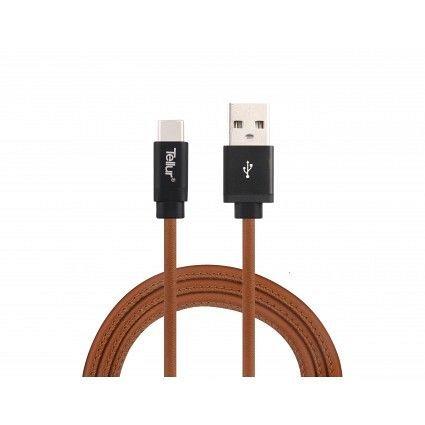 Cablu de date Type C, Tellur, piele, 1M, 3A, maro