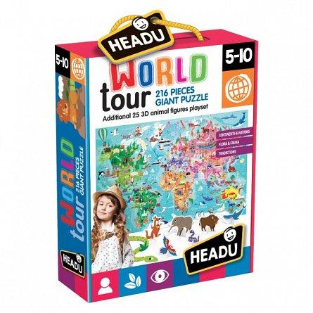 Puzzle Inconjurul lumii,216pcs,Headu,5-10ani