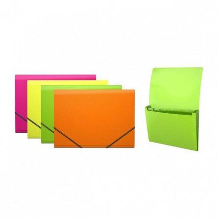 Mapa plastic,A4,6comp,elastic,Glance Neon,EK