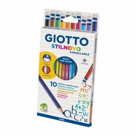 Creioane colorate,Giotto,Stilnovo,cu radiera,10buc/set