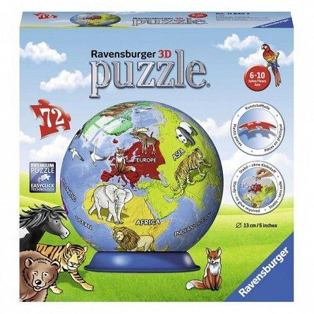 Puzzle 3D Ravensburger - Glob Pamantesc, 72 piese