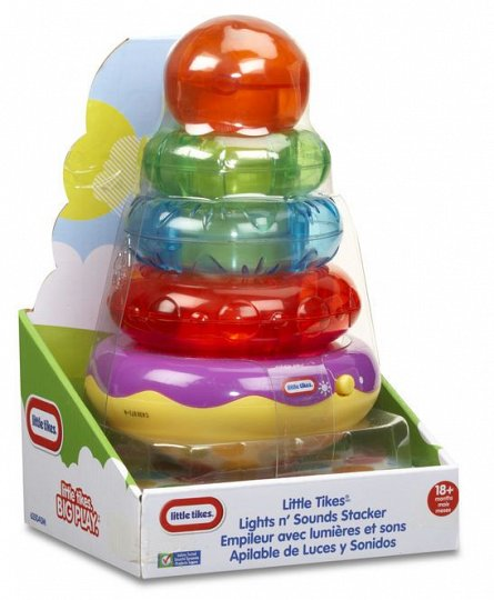 Piramida,cu sunete si lumini,verde/portocaliu,Little Tikes,+9M