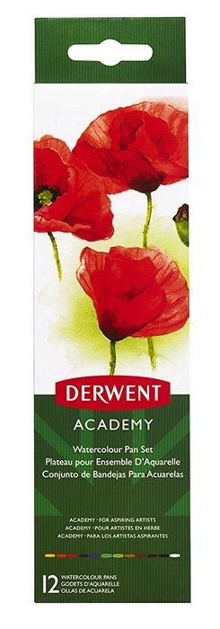 Tempera watercolour,Derwent,Academy,12ml,14b/set