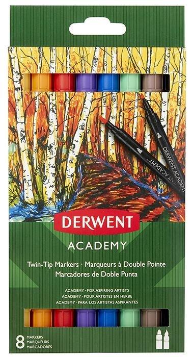 Marker pt copii,Derwent,Academy,TwinTip,Brush,8b/set