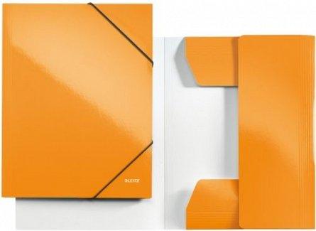 Mapa carton cu elastic,portocaliu,Leitz