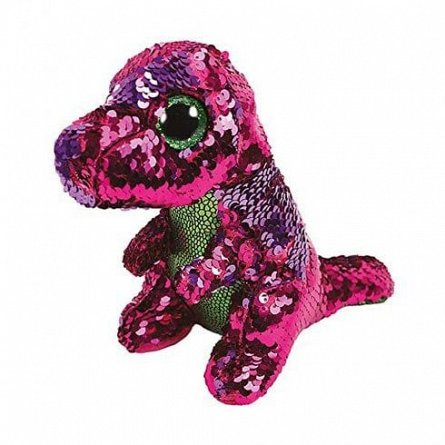 Plus TY,Dinozaur Stompy paiete roz/verde,15 cm