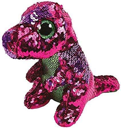 Plus TY,Stompy Dinozaur,Paiete roz/verde,24 cm