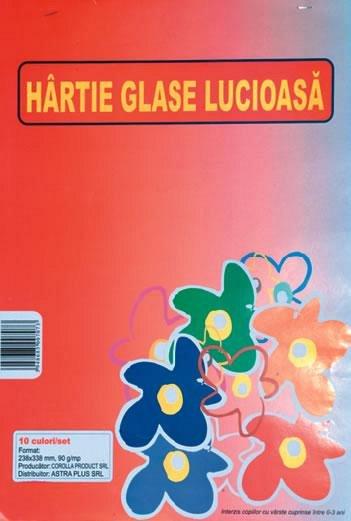 Hartie glace lucioasa 24x34cm, 10 culori/set