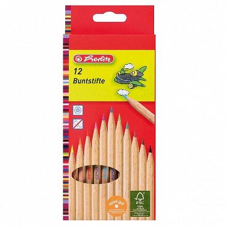 Creioane colorate,12b/set,natur,Herlitz