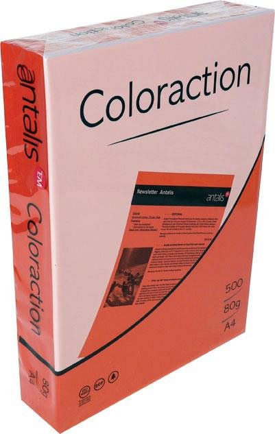 Hartie color pentru copiator, A4, 80 g/mp, coala, rosu coral, Coloraction
