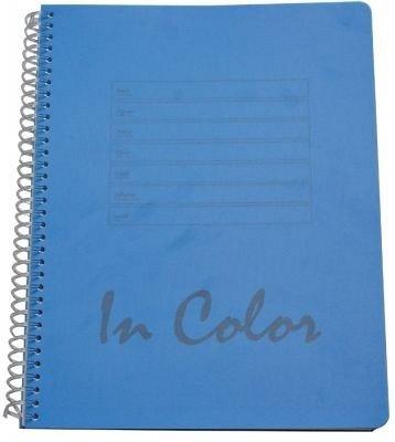 Caiet spira A5,80file,PP,mate,In Color,albastru
