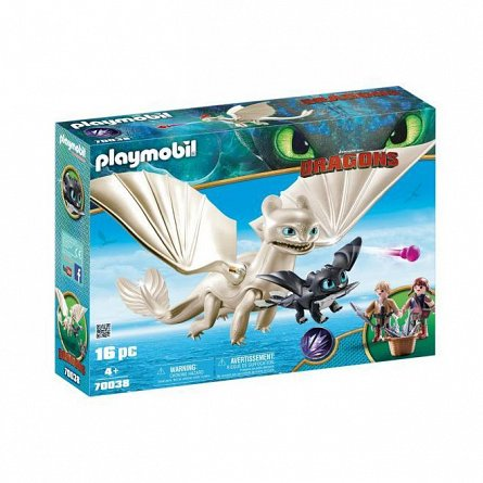 Playmobil-Light fury,pui de dragon si copii
