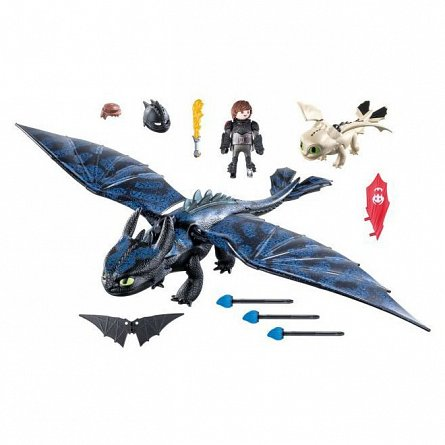 Playmobil-Hiccup,toothless si pui de dragon