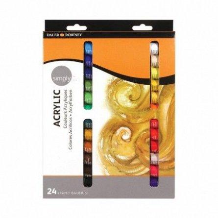 Set culori acrilice,Simply,12ml,24b